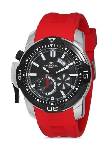 Cacharel Chrl40762Se Silikon Kordon Kasa Erkek Analog Kol Saat Kırmızı